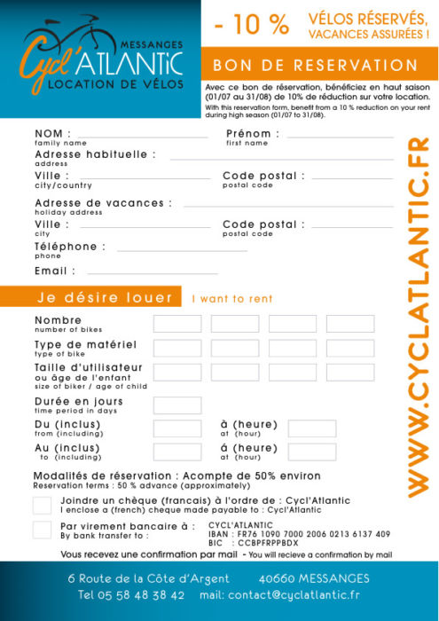 Cycl'Atlantic Messanges - RESERVATION FORM